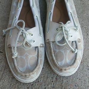 Coach Richelle White Canvas Leather Boatshoes